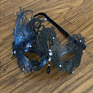 Black Metal Lace Style Masquerade Mask